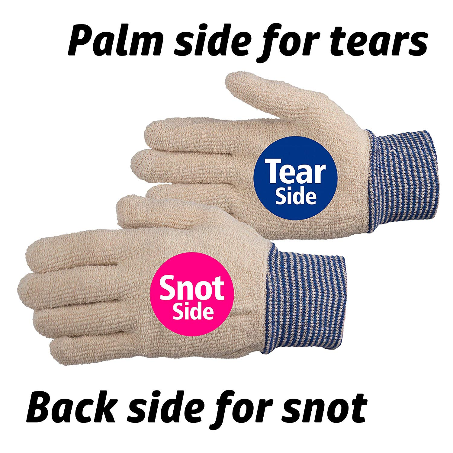 palm side for tears, back side for snot